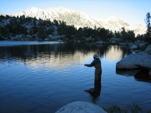 8/12/06: Dad fishing at dusk on a backpacking trip to Pioneer Basin, CA