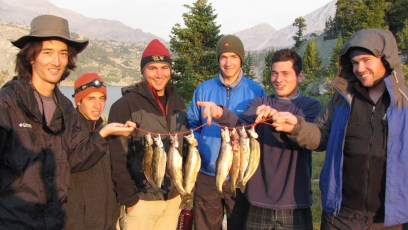 8/26/08: Trout for dinnner at Island Lake. From left: me, Aaron, Pete, Ian, Colin, and Tim