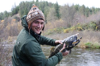 11/19/11: Colin snagged this spawned-out salmon while trying for steelhead. Trinity River, CA