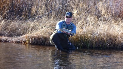 11/23/12: Tim with a nice brown. Little Truckee River, CA