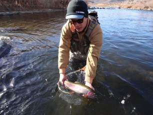 1/19/14: Burton with a hefty Truckee River rainbow