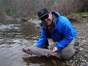 3/2/14: Tim lands the elusive steelhead, or sea-going rainbow trout. Trinity River, CA