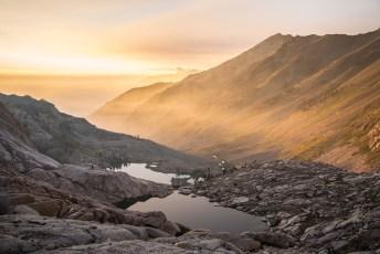 Cylamen Lake, Spring Lake and Black Rock Pass from just below Columbine Lake