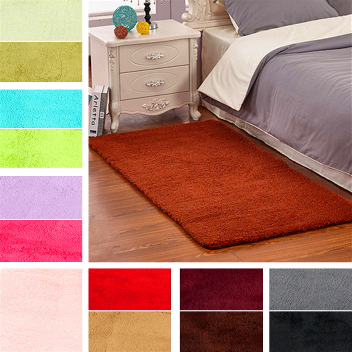 60 X 120cm Anti Skid Shaggy Fluffy Area Rug Bedroom Carpet Floor Mat Parlor Decor