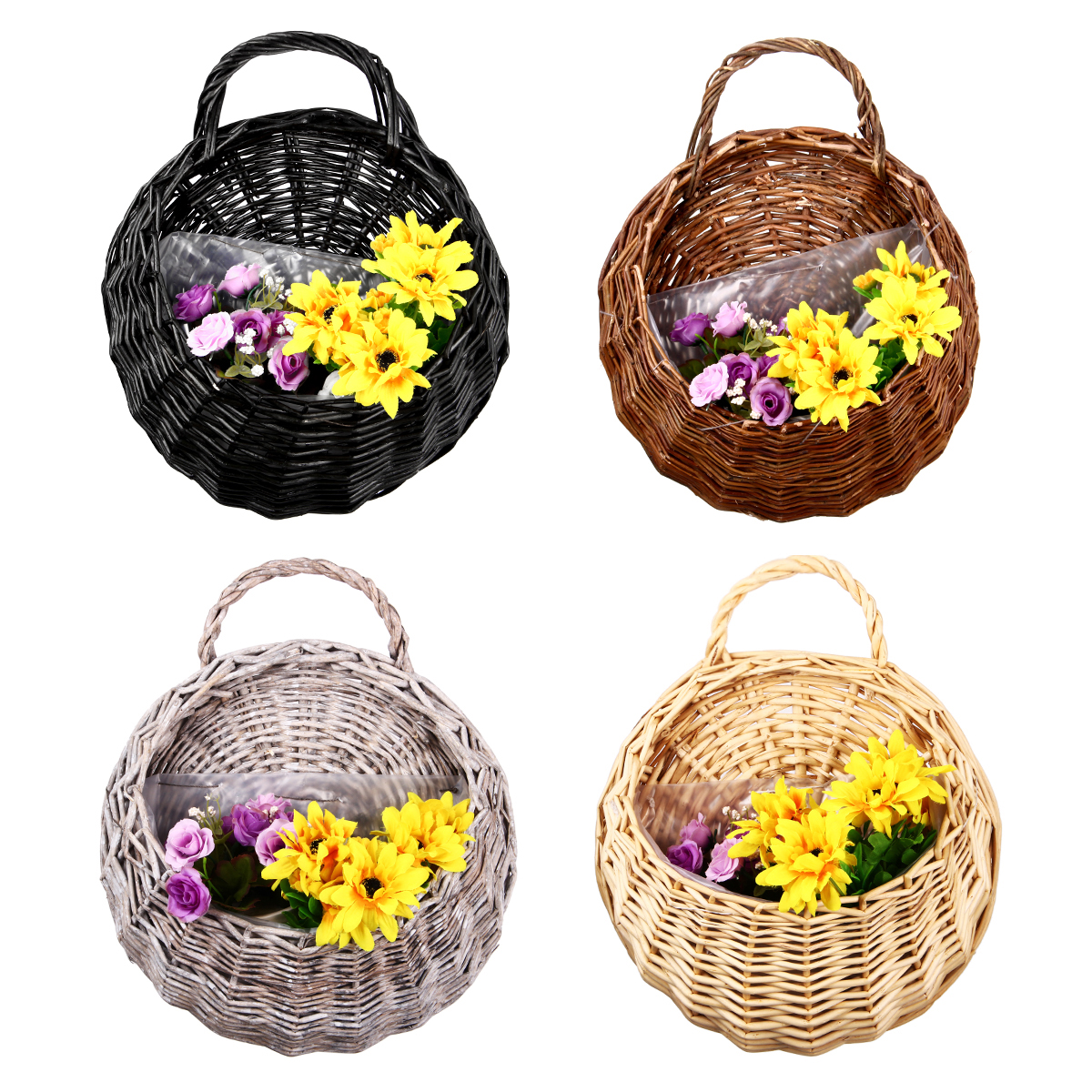 Rustic Wicker Rattan Wall Hanging Flower Baskets Pot Home ... on Decorative Wall Sconces For Flowers Hanging Baskets Delivery id=23137
