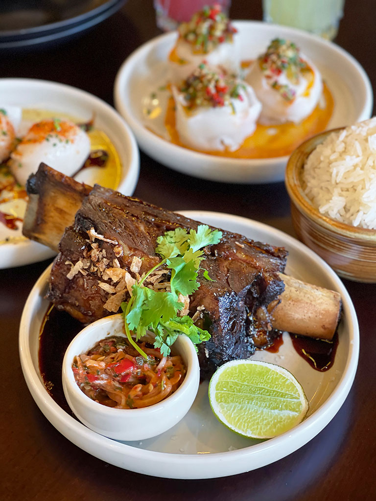 A plate of Asian charred beef short rib with sambal matah and lime from Emily Taylor Restaurant & Bar