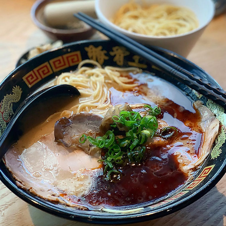 A bowl of red spicy tonkotsu ramen from keisuke tonkotsu
