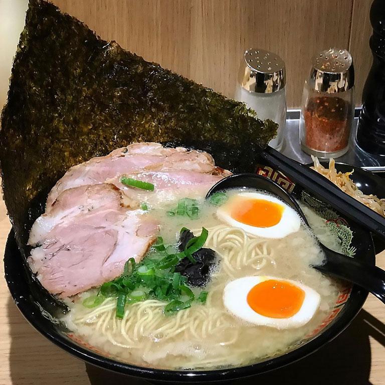 A bowl of tonkotsu ramen from keisuke tonkotsu