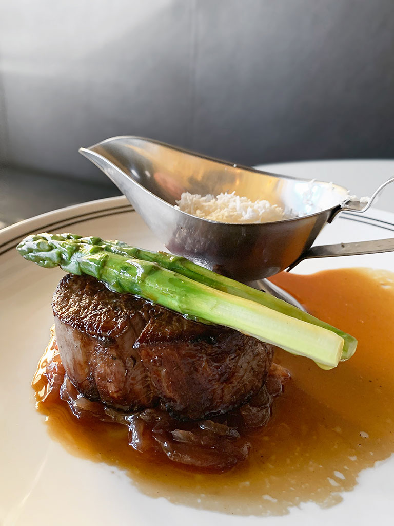 Beef Fillet served with asparagus from Le Rebelle