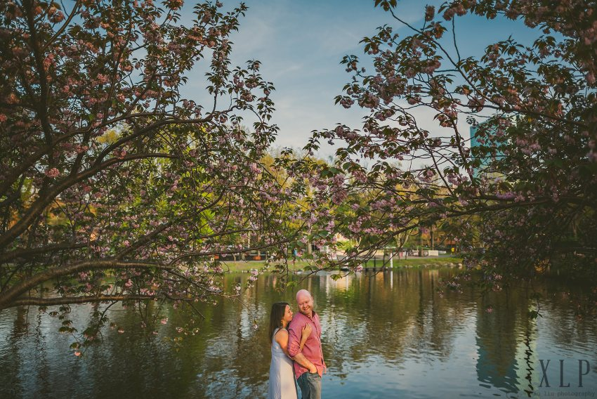 engagement portrait with cherry blossoms at Charles River Esplanade