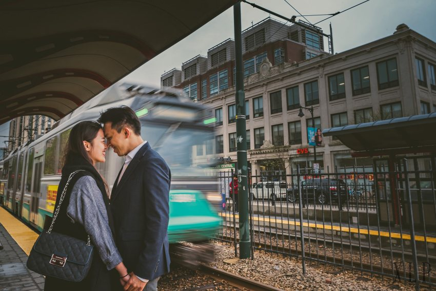 Boston University green line engagement pictures