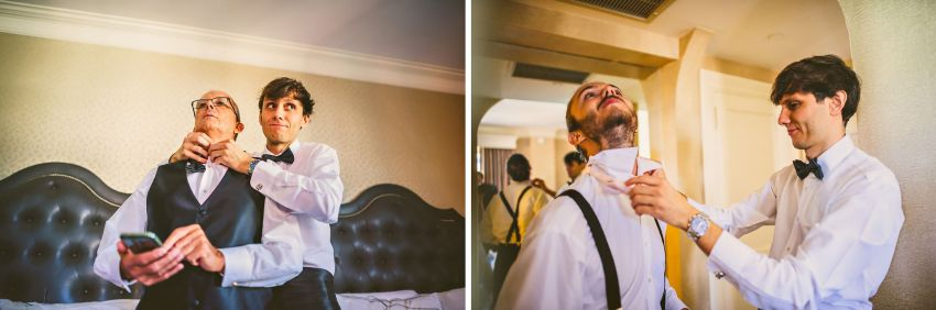 groom helping with ties on brother and father