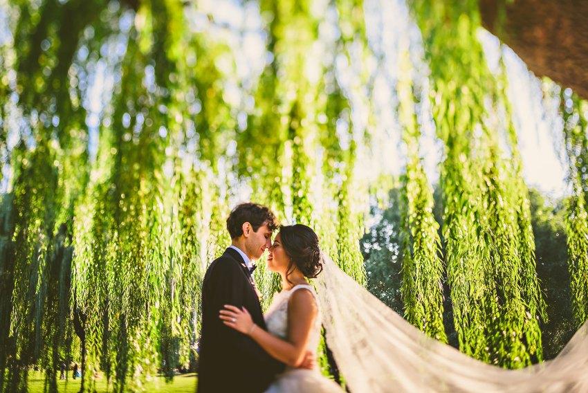 wedding portrait under willow trees