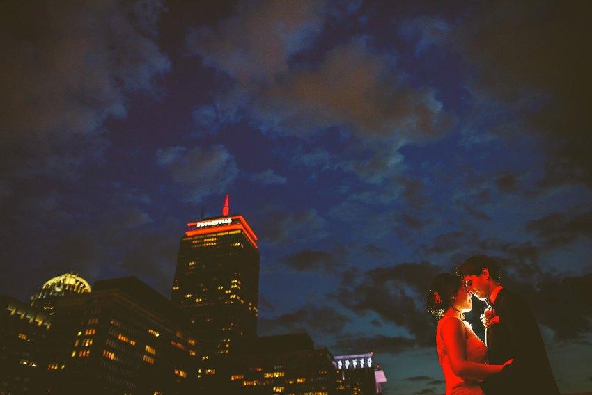 Lenox rooftop backlit wedding portrait