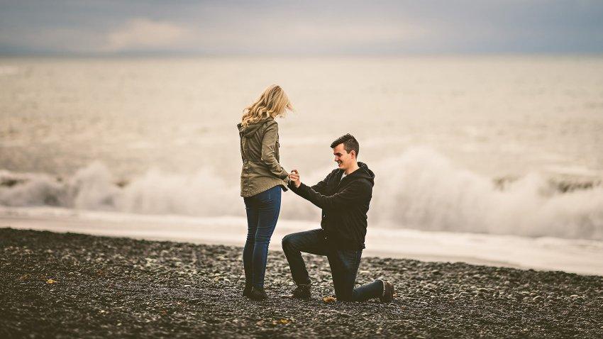 proposal at reynisfjara in iceland