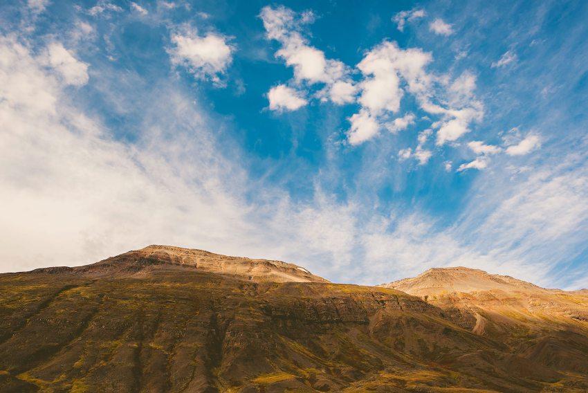Iceland mountain in autumn near Akureyri