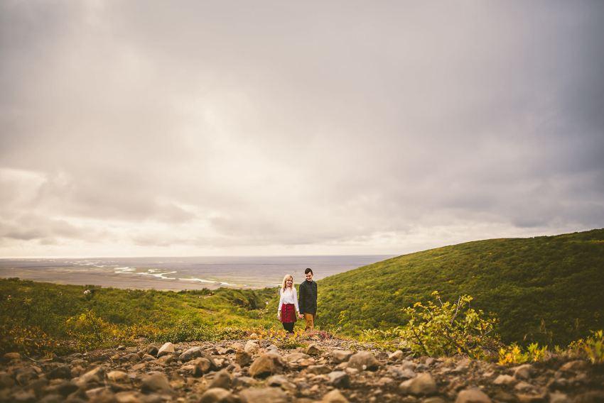 Skaftafell hike epic engagement photo