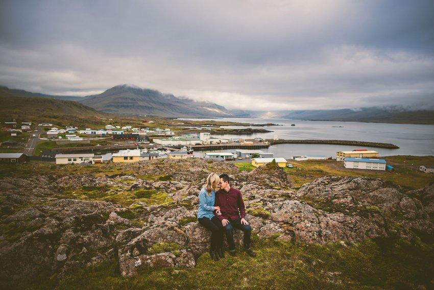 Icelandic town engagement portraits