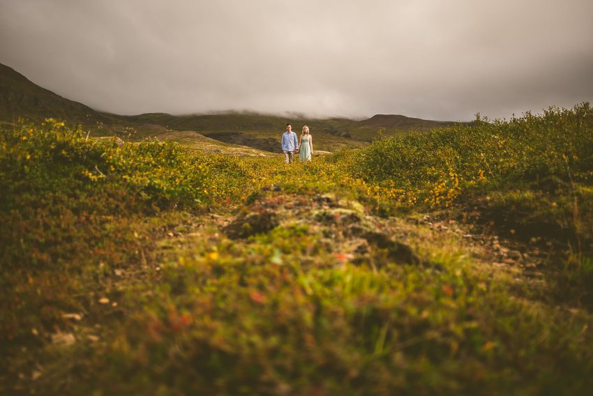 engaged couple traveling in Iceland