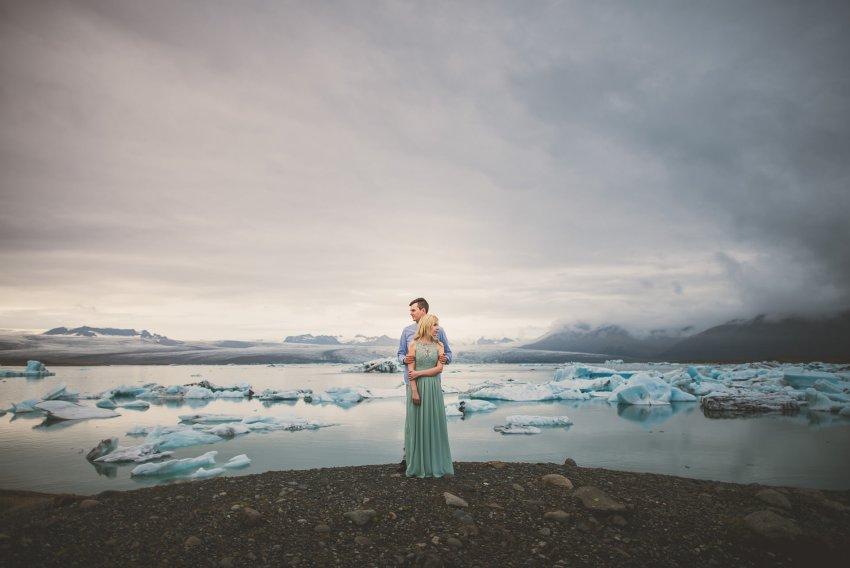 epic glacier lagoon Jokulsarlon engagement photo