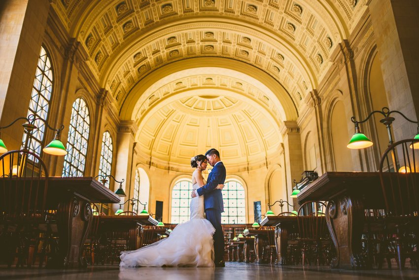 Boston Public Library wedding portraits