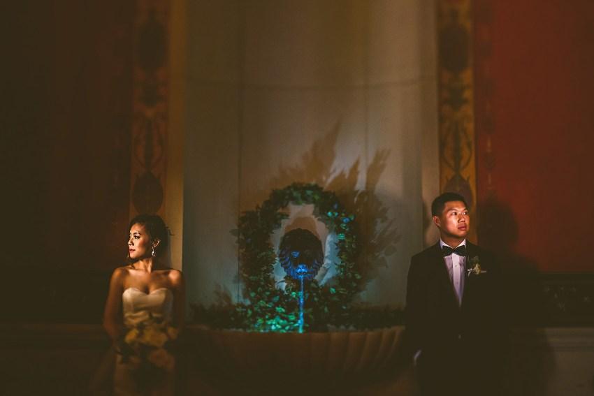 Artistically lit wedding photos