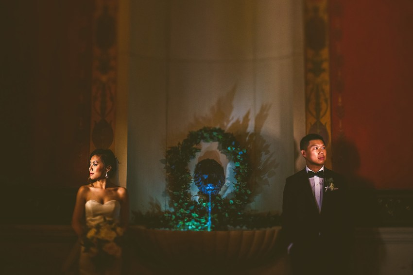 Artistically lit wedding photos