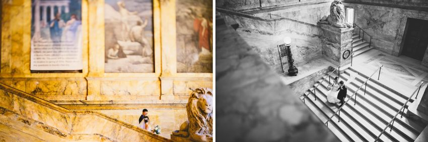 Bride and groom walking down Boston Public Library staircase