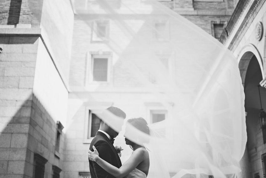 Boston Public Library bridal veil wedding portrait
