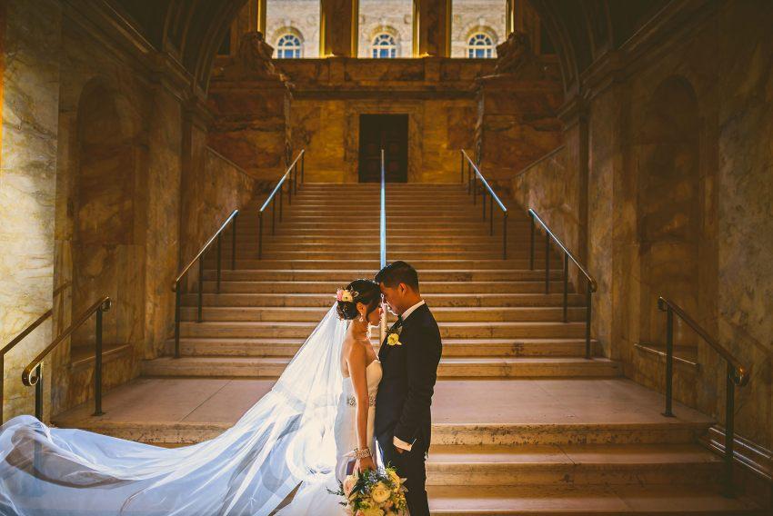 Grand staircase Boston Public Library wedding photo