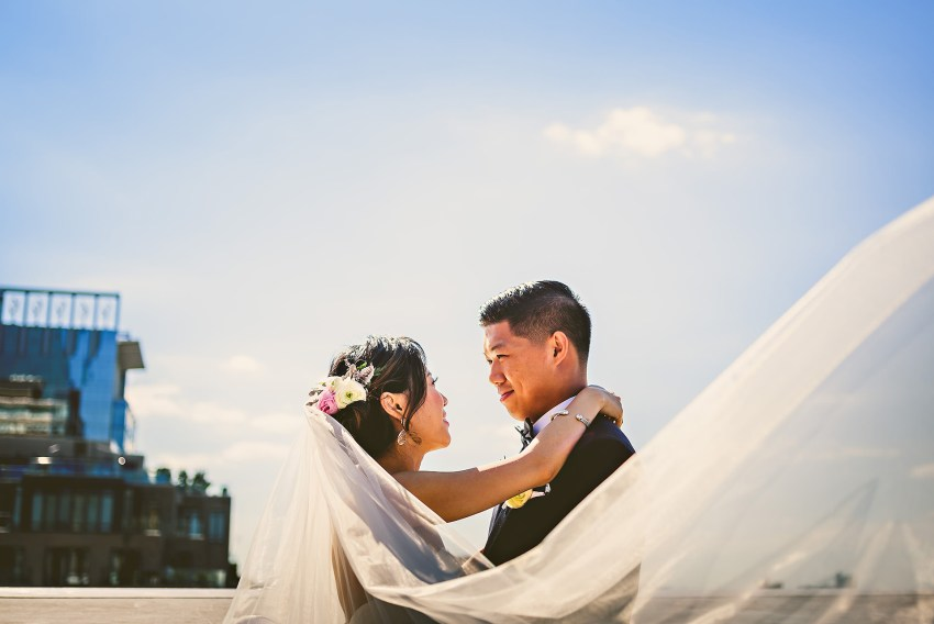 Downtown Boston wedding rooftop portraits