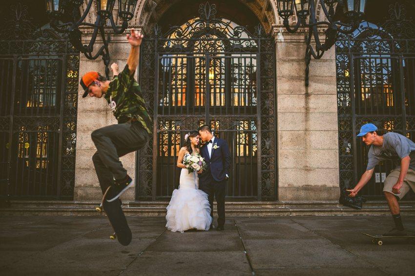 Skateboarders in wedding portrait