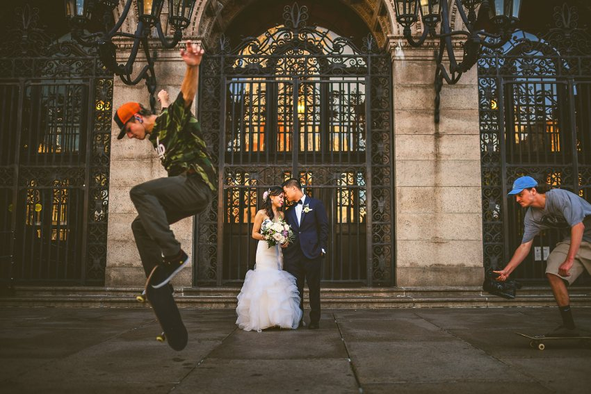 Skateboarders in wedding portrait