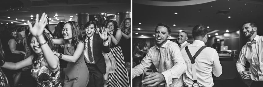 Black and white wedding reception photos at Hei La Moon