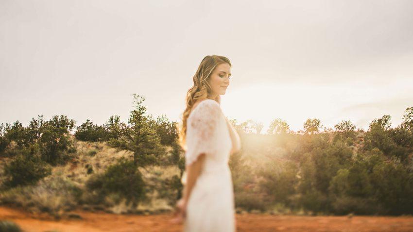 Sedona sunset bridal portrait