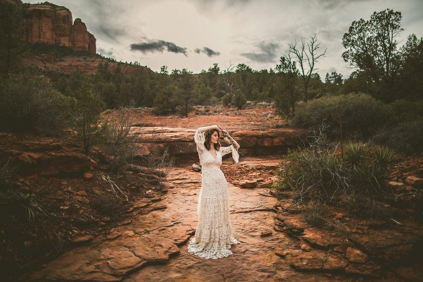 Creative bridal portrait in Sedona