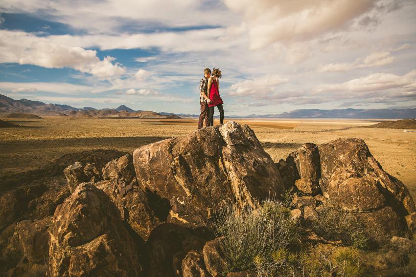 Kingman couple with dramatic landscape
