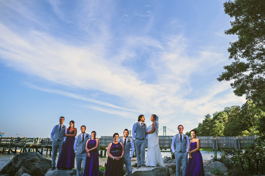 Creative wedding party photo with lighting