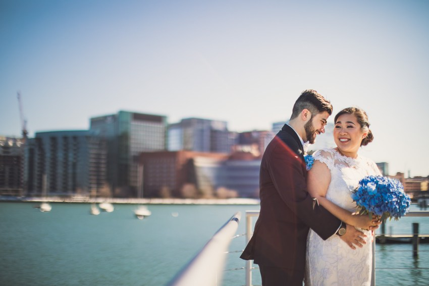 New England Aquarium wedding portrait