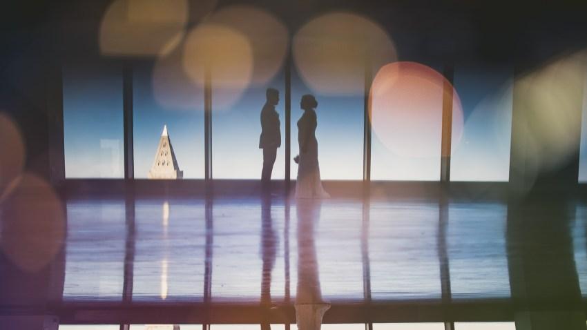 Creative wedding portrait silhouette