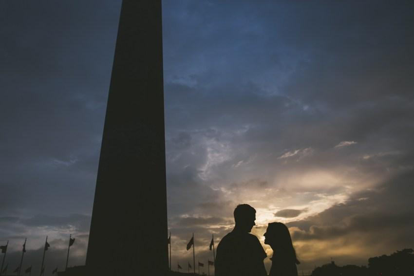 Washington Monument sunrise silhouette