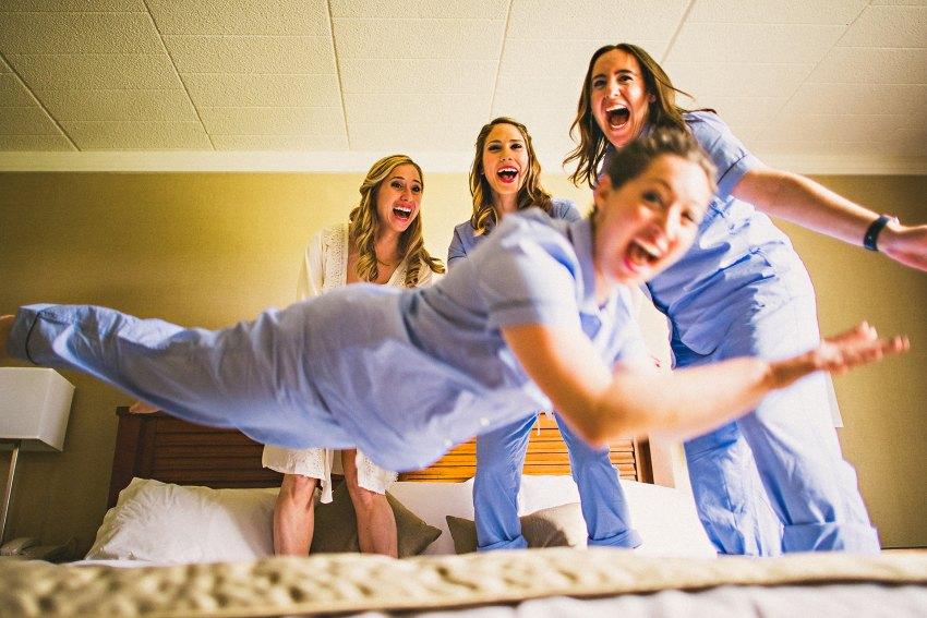 Bride with bridesmaids in hotel