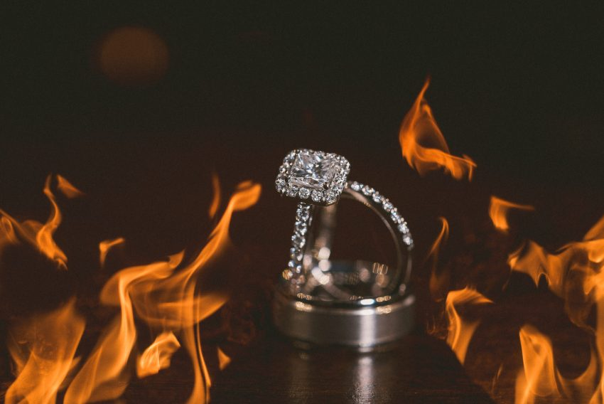 Wedding rings with fire