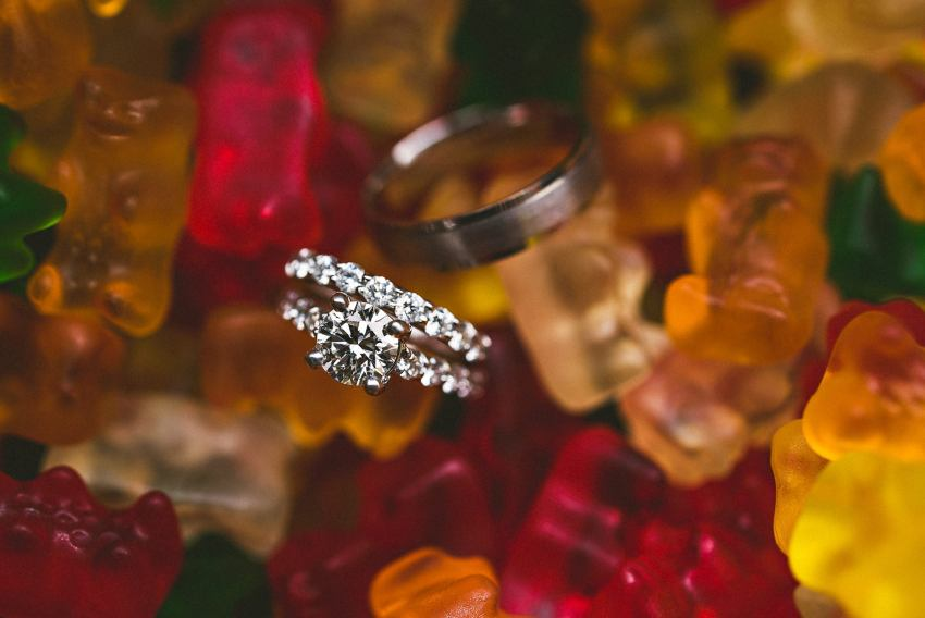 Wedding rings in gummy bears