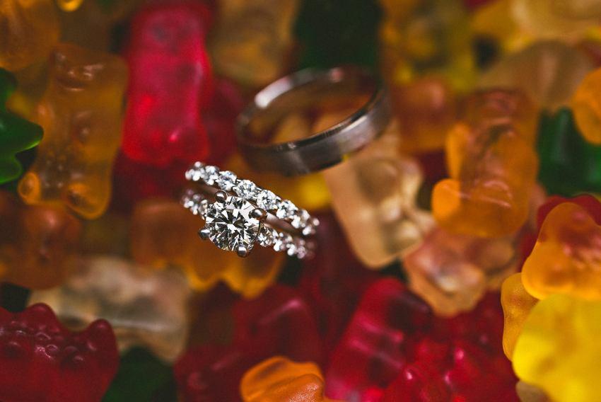 Wedding rings in gummy bears