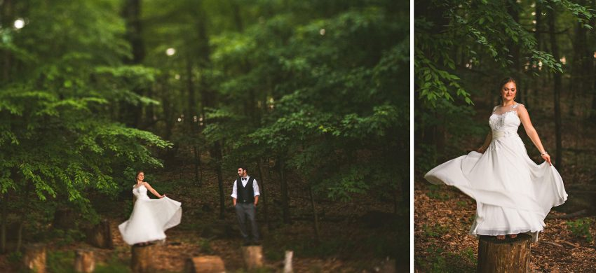 Wedding portraits on stumps
