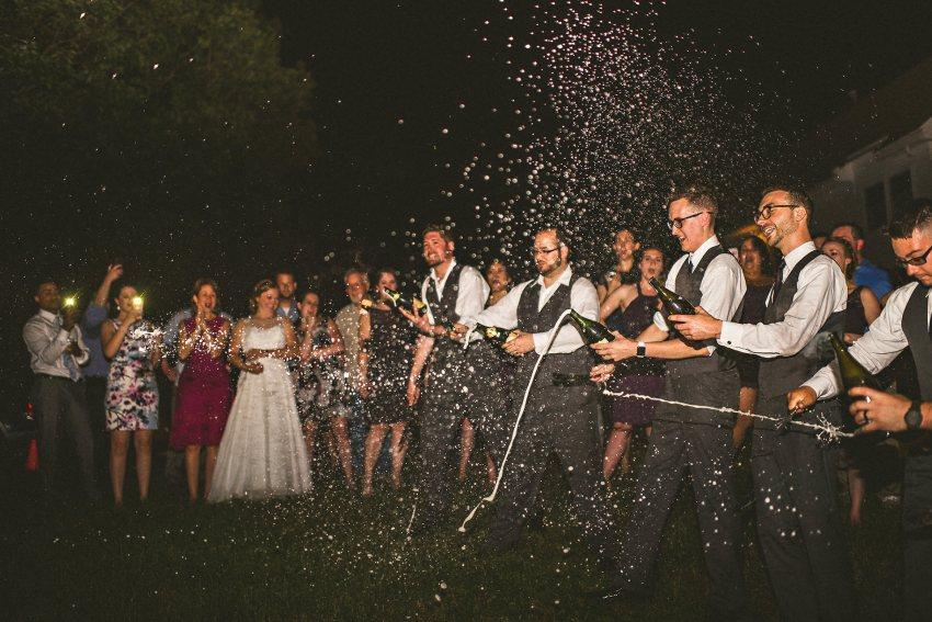 Groomsmen sabering champagne