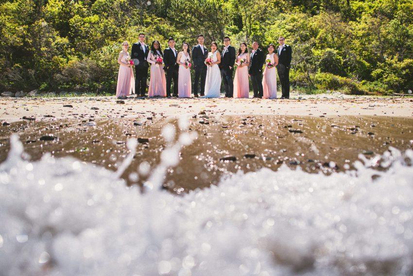 Wedding party on beach