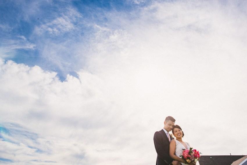 Dramatic sunny wedding portrait