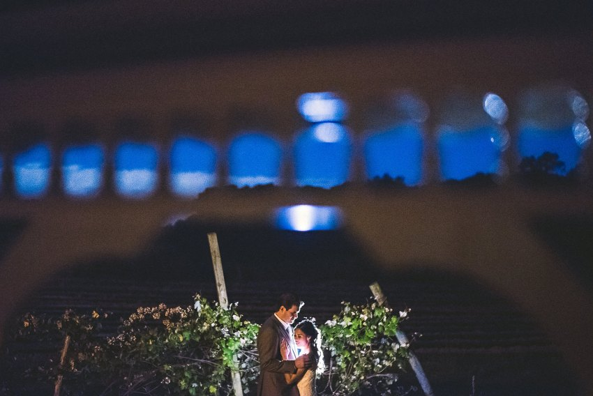 Vineyard night wedding portraiture